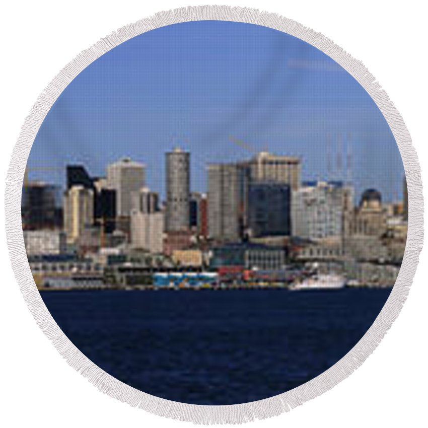 3scape Round Beach Towel featuring the photograph Seattle Panoramic by Adam Romanowicz