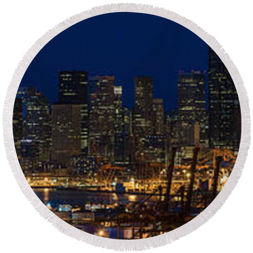 Seattle Round Beach Towel featuring the photograph Seattle Skyline At Night From West Seattle by Mike Reid