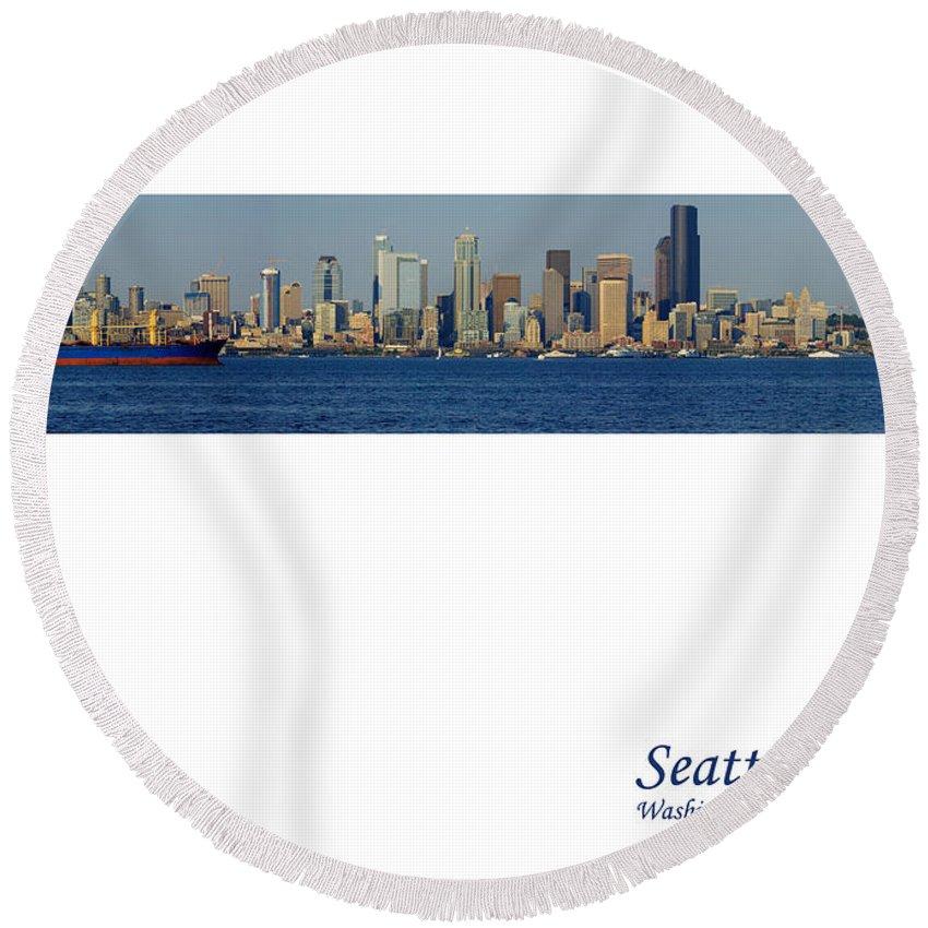 Seattle Round Beach Towel featuring the photograph Seattle Skyline From Alki by Karen Ulvestad