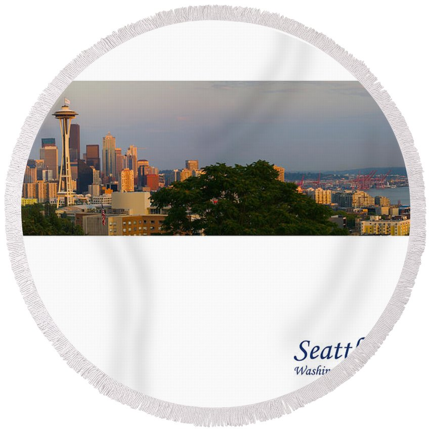 Seattle Round Beach Towel featuring the photograph Seattle Skyline by Karen Ulvestad