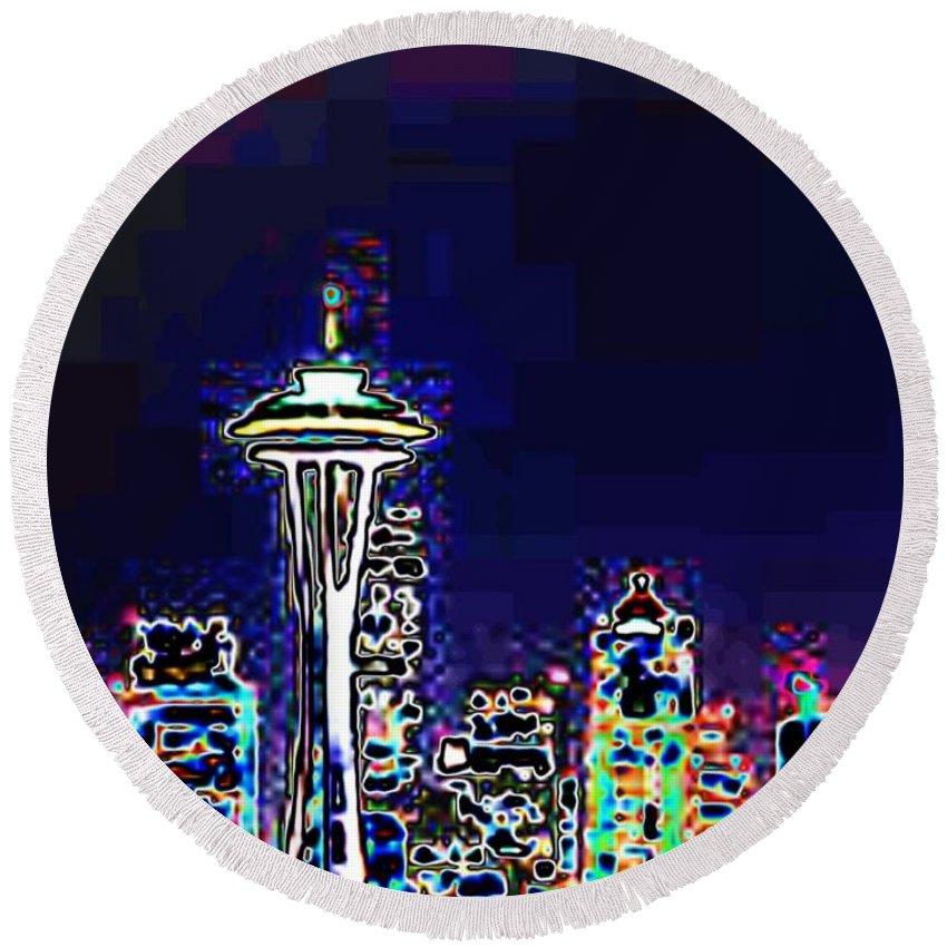 Seattle Round Beach Towel featuring the photograph Seattle Skyline by Tim Allen