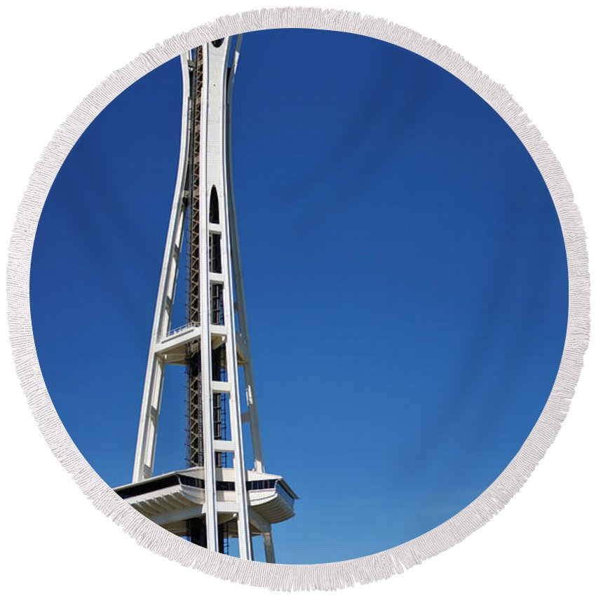 3scape Round Beach Towel featuring the photograph Seattle Space Needle by Adam Romanowicz