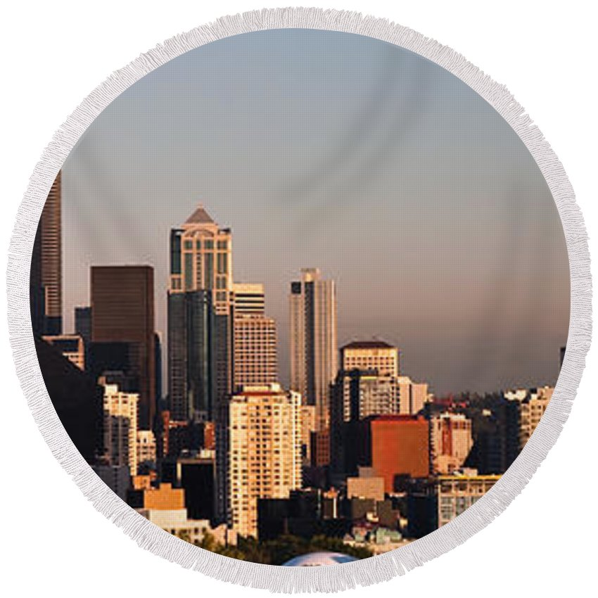 Panorama Round Beach Towel featuring the photograph Seattle Sunset Panorama by Jim Chamberlain
