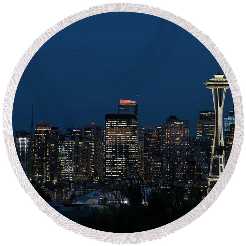 City Round Beach Towel featuring the photograph Seattle Washington Space Needle And City Skyline At Night by Brandon Alms