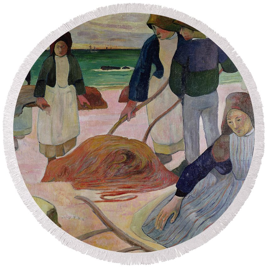 Seaweed Gatherers Round Beach Towel featuring the painting Seaweed Gatherers by Paul Gauguin