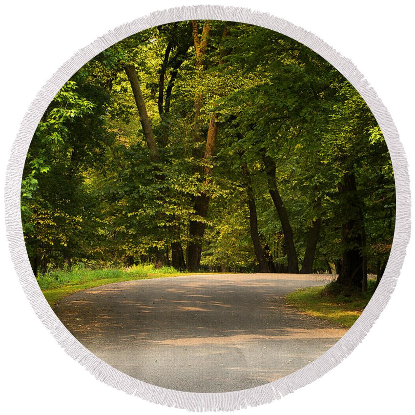 Nobody Round Beach Towel featuring the photograph Secluded Forest Road by Donald Erickson