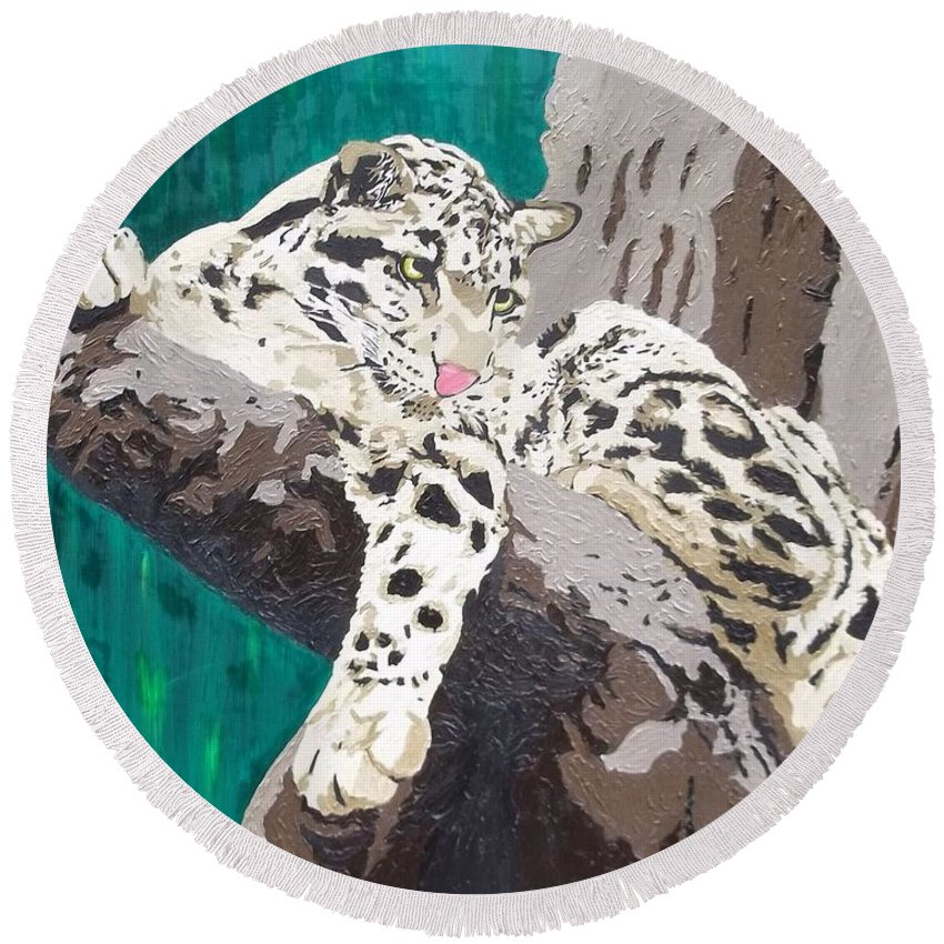 Clouded Leopard Round Beach Towel featuring the painting Secluded Grace by Amy Pugh