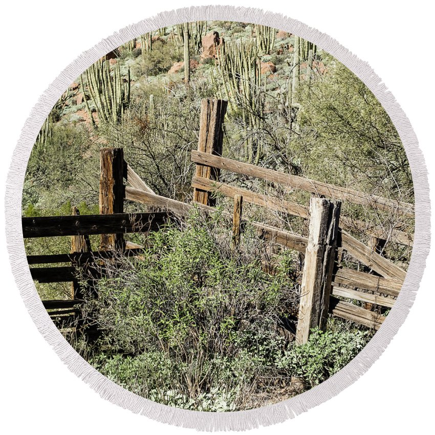 Arizona Round Beach Towel featuring the photograph Secluded Historic Corral In Sonoran Desert by Cary Leppert