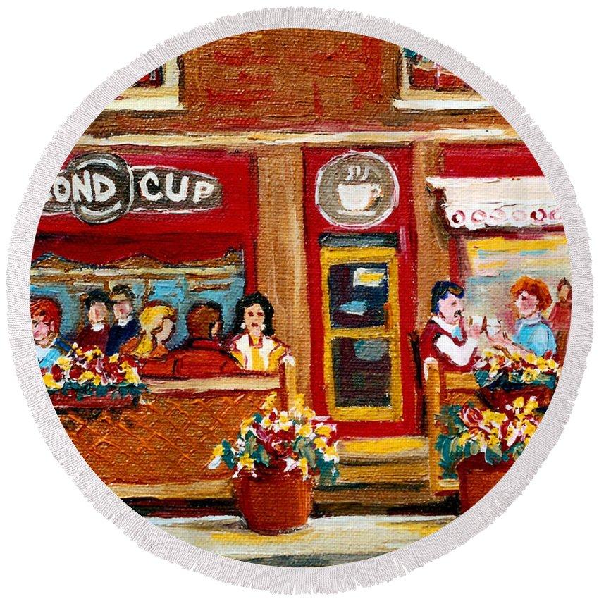 Second Cup Coffee Shop Round Beach Towel featuring the painting Second Cup Coffee Shop by Carole Spandau