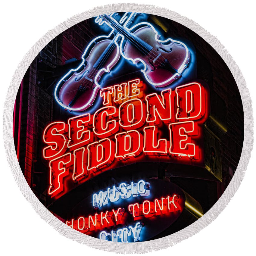 Nashville Round Beach Towel featuring the photograph Second Fiddle by Stephen Stookey