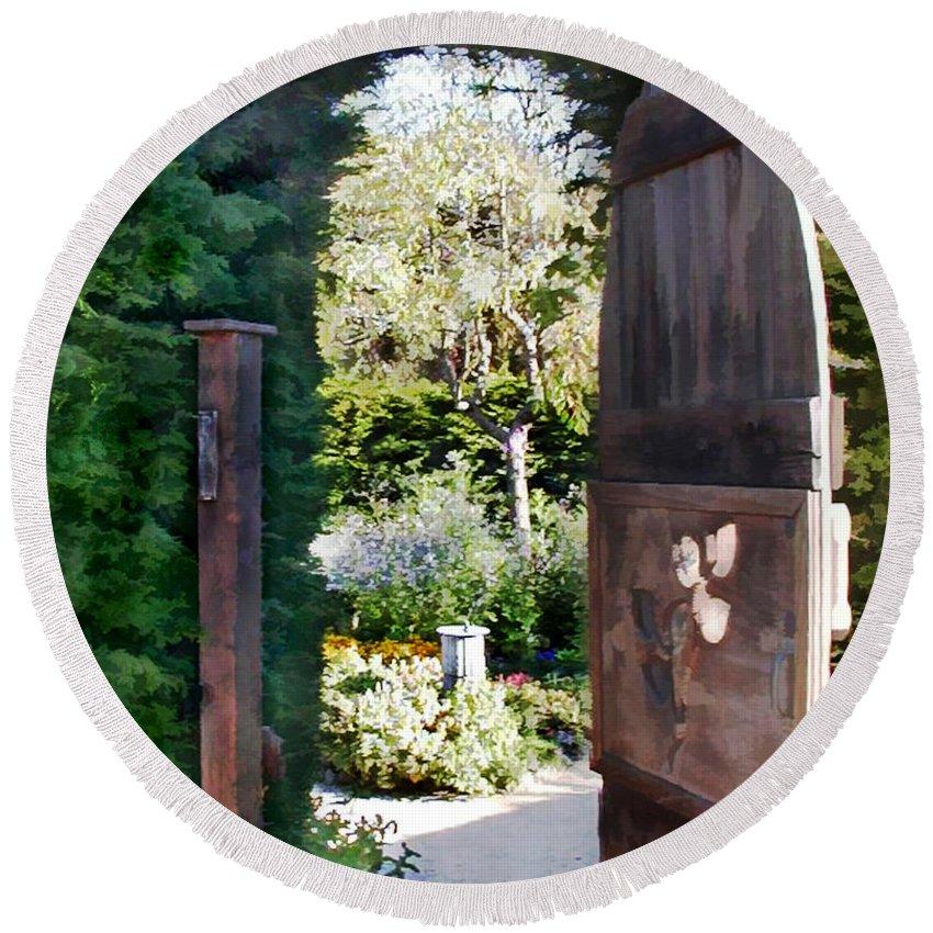 Round Beach Towel featuring the painting Secret Garden by Elaine Plesser