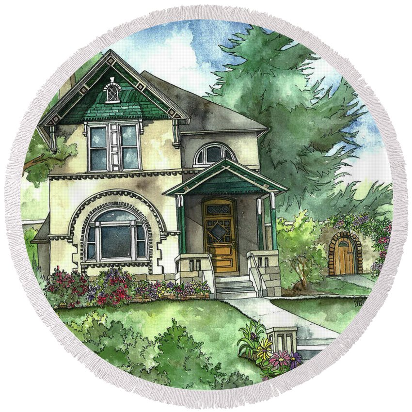 Vintage House Round Beach Towel featuring the painting Secret Garden by Shelley Wallace Ylst