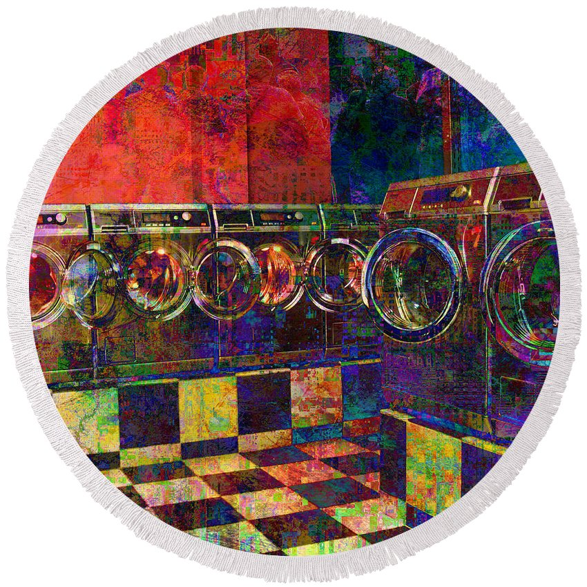 Laundry Round Beach Towel featuring the digital art Secret Life Of Laundromats by Barbara Berney