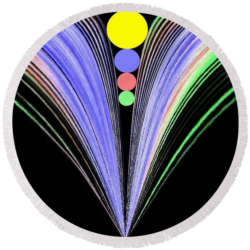 Abstract Round Beach Towel featuring the digital art Security by Will Borden