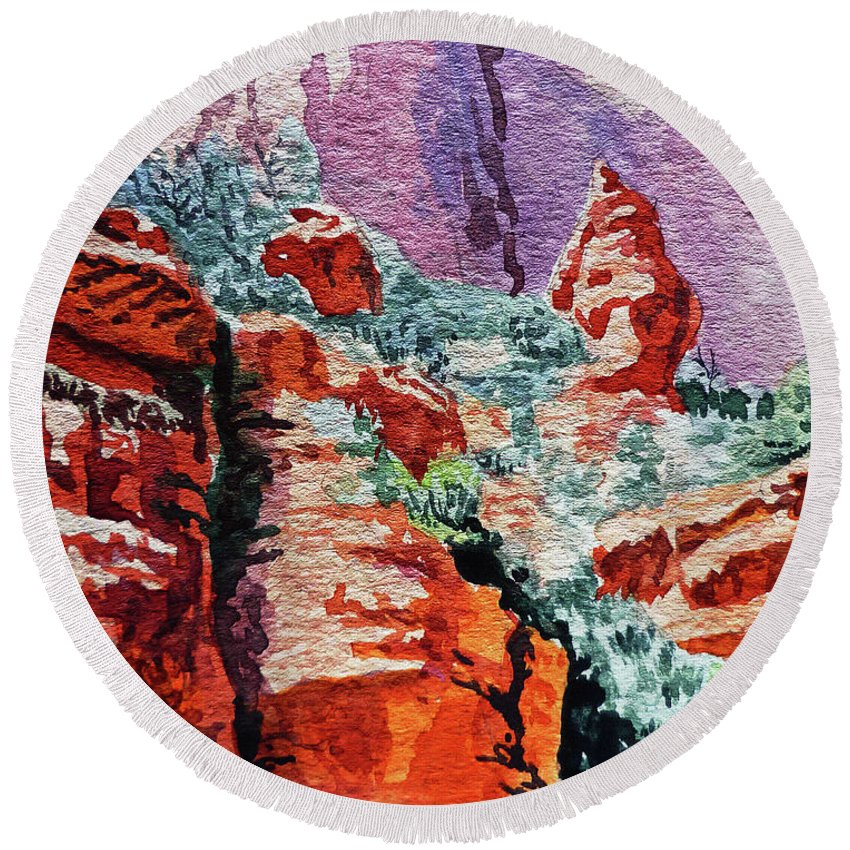 Landscape Round Beach Towel featuring the painting Sedona Arizona Rocky Canyon by Irina Sztukowski