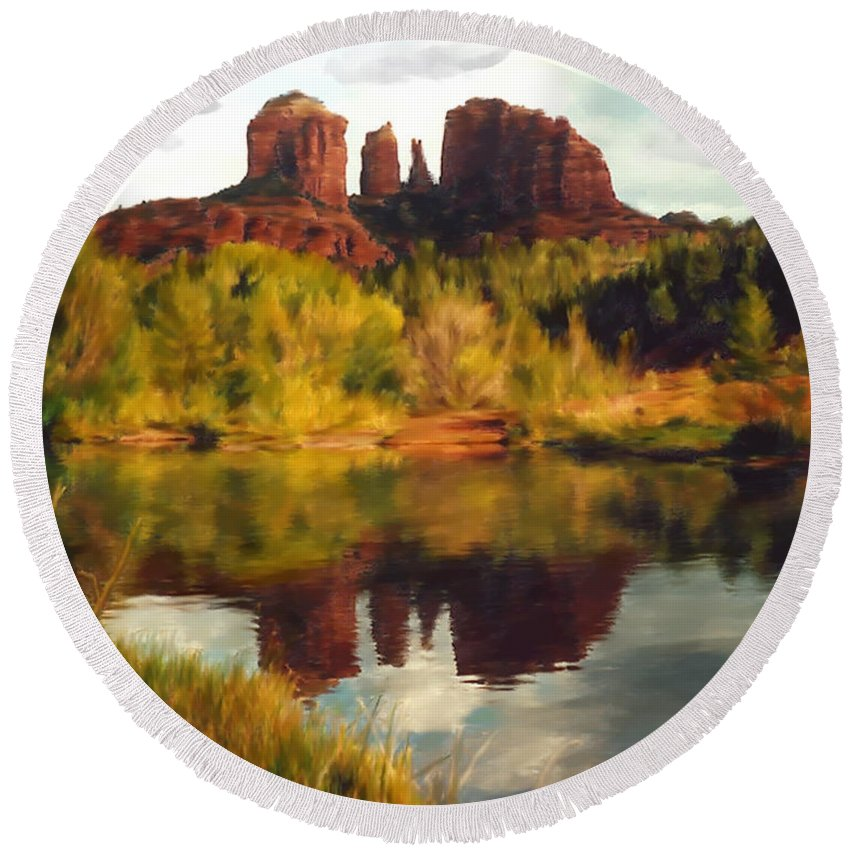 Sedona Round Beach Towel featuring the photograph Sedona by Kurt Van Wagner