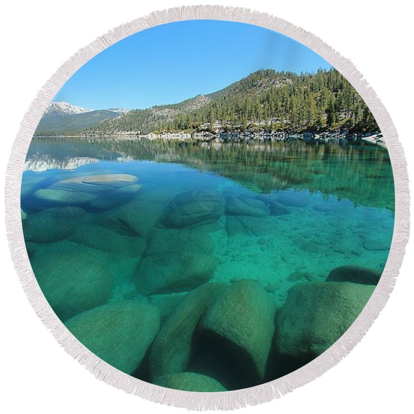 Lake Tahoe Round Beach Towel featuring the photograph Seduction by Sean Sarsfield