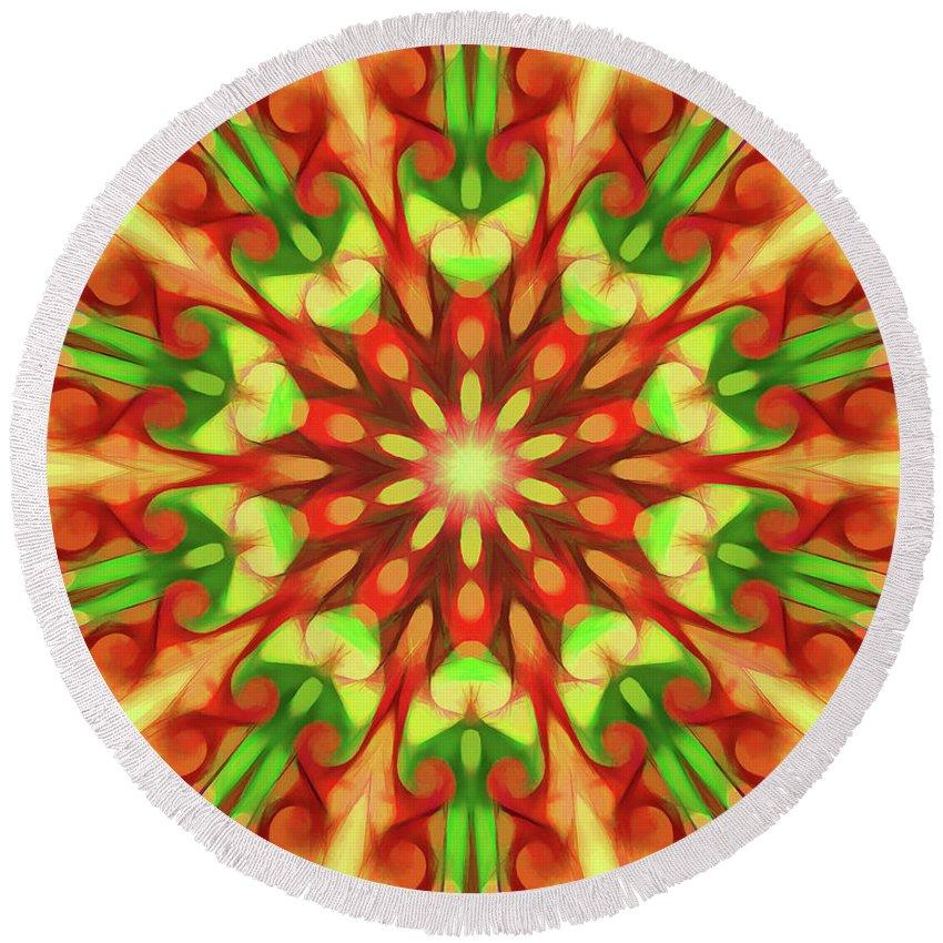 Mandala Art Round Beach Towel featuring the painting Seed by Jeelan Clark