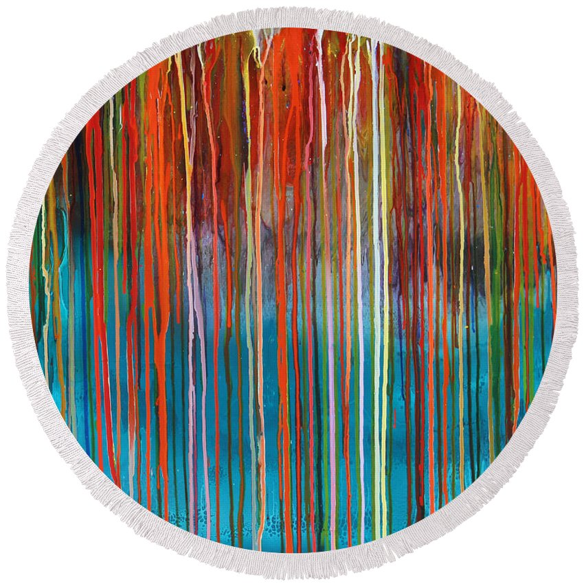 Fusionart Round Beach Towel featuring the painting Seed by Ralph White
