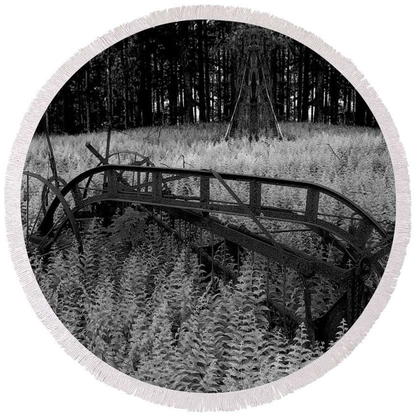 Monotone Round Beach Towel featuring the photograph Seed Sowing Machine by Chris Lord