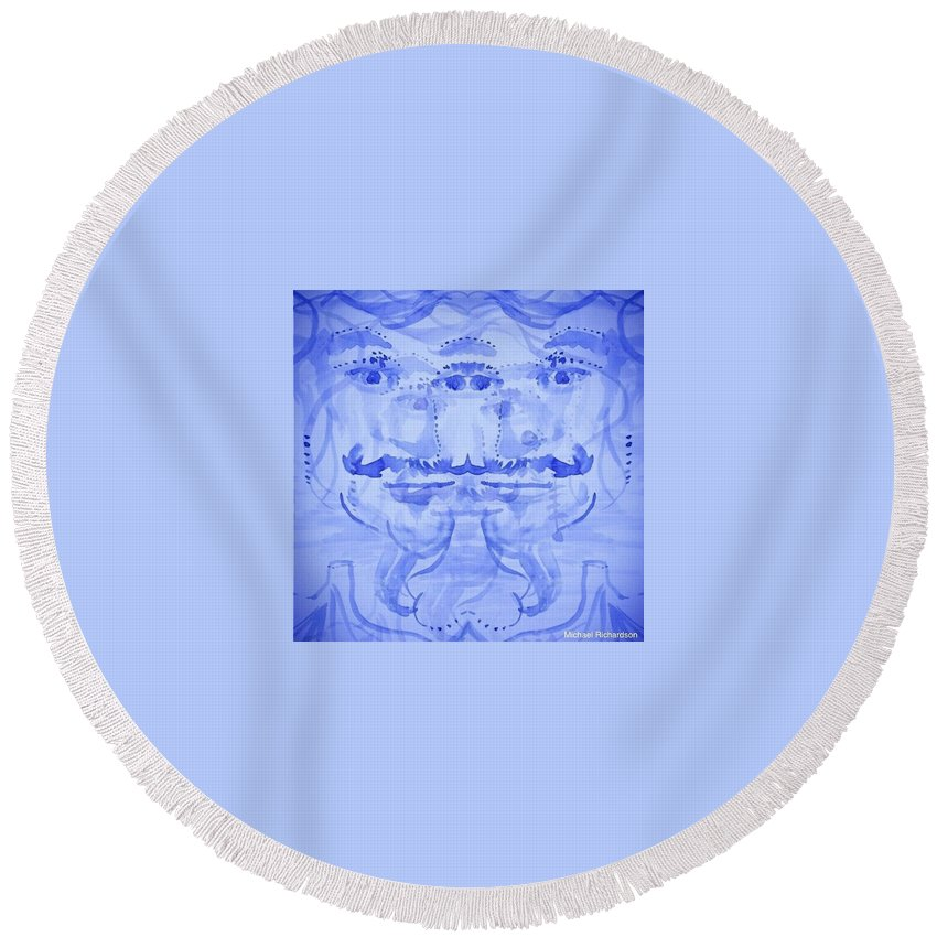 Self-portrait Artist Watercolor Surreal Eyes Blue Round Beach Towel featuring the painting Seer-synthesis Self Portrait by Michael Richardson