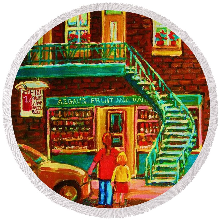 Staircases Round Beach Towel featuring the painting Segal's Fruit And Variety Store by Carole Spandau