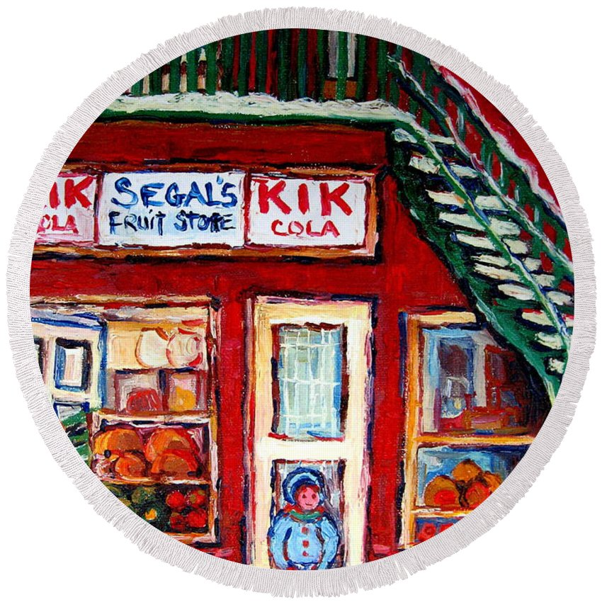 Segal Round Beach Towel featuring the painting Segal's Market St.lawrence Boulevard Montreal by Carole Spandau