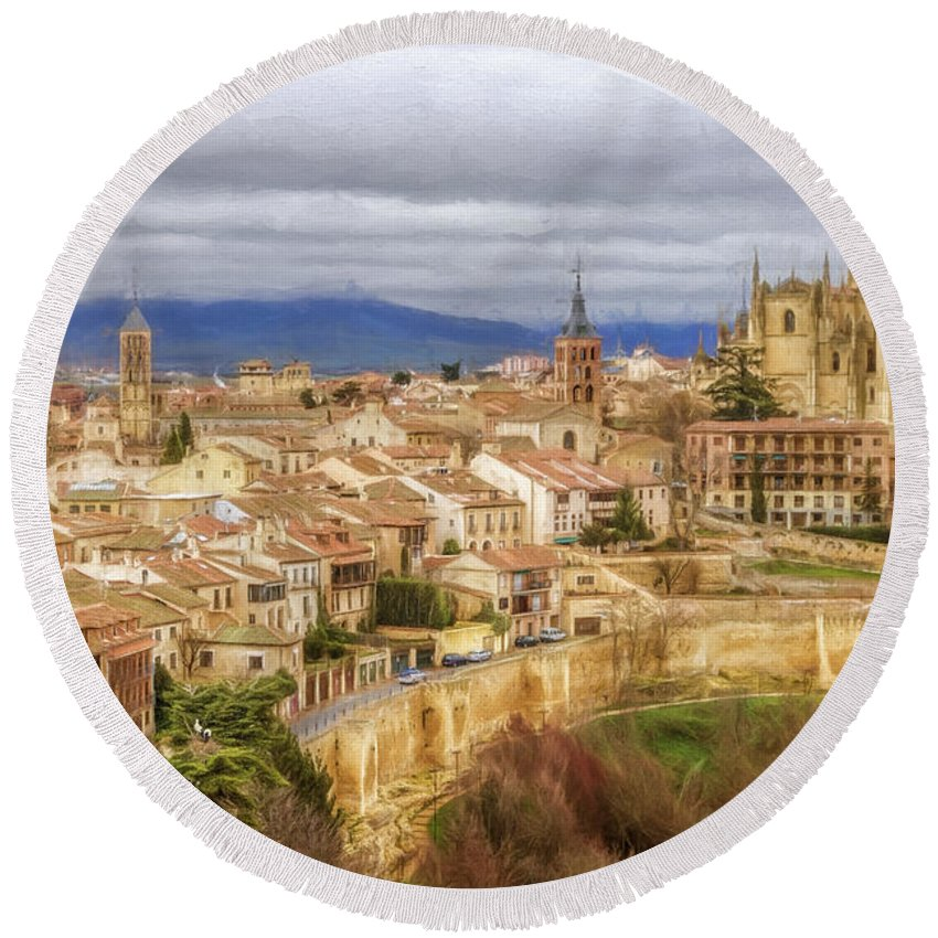 Joan Carroll Round Beach Towel featuring the photograph Segovia Cathedral View by Joan Carroll
