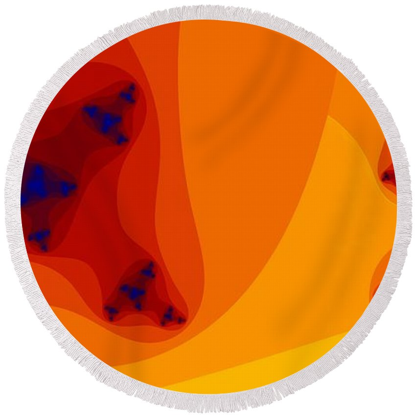 Oranges Round Beach Towel featuring the digital art Seis Naranjas by Ron Bissett