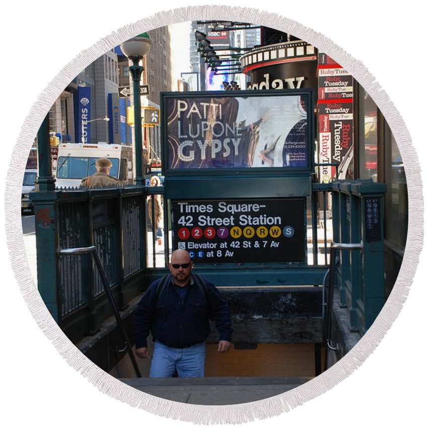 Subay Round Beach Towel featuring the photograph Self At Subway Stairs by Rob Hans