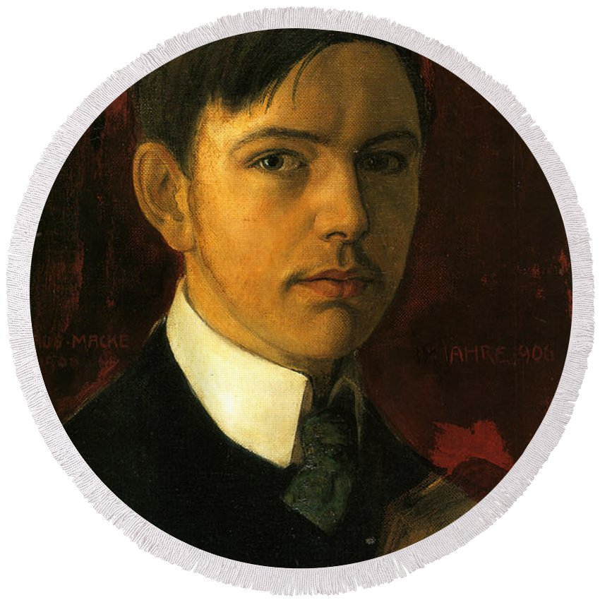 August Macke Round Beach Towel featuring the painting Self Portrait by August Macke