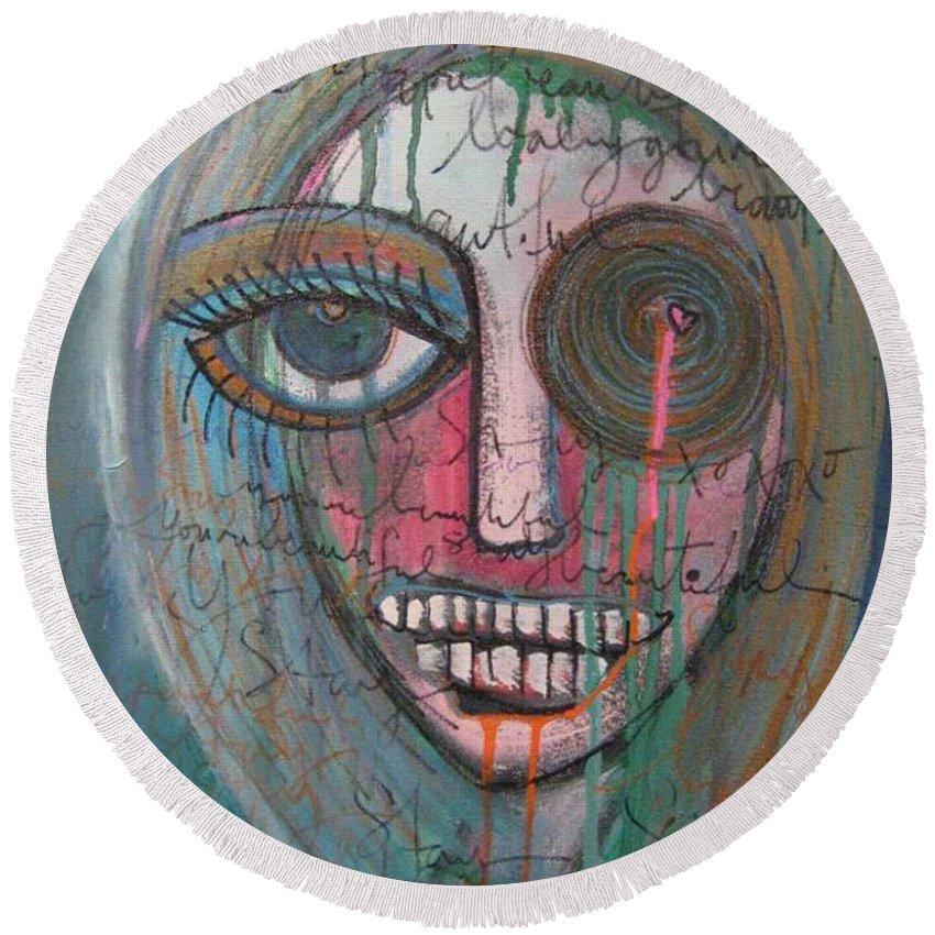 Self Portraits Round Beach Towel featuring the painting Self Portrait Youre Beautiful by Laurie Maves ART