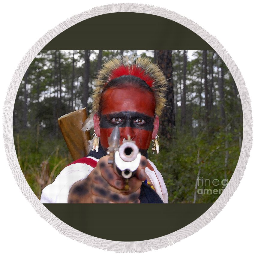 Seminole Indian Round Beach Towel featuring the photograph Seminole Warrior by David Lee Thompson