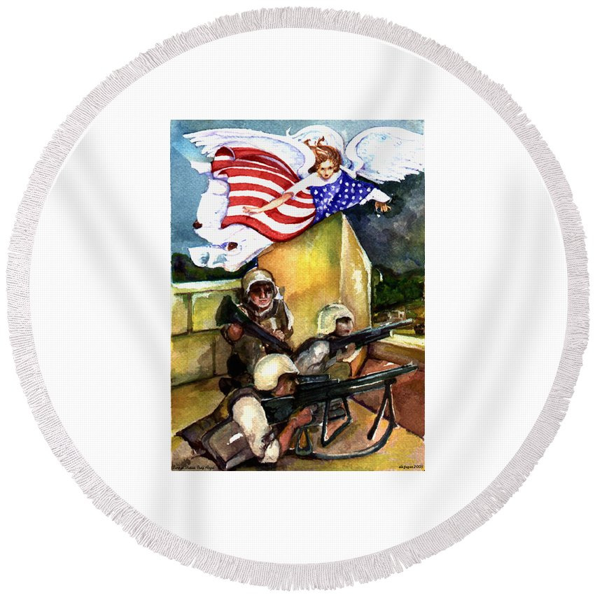 Elle Fagan Round Beach Towel featuring the painting Semper Fideles - Iraq by Elle Smith Fagan