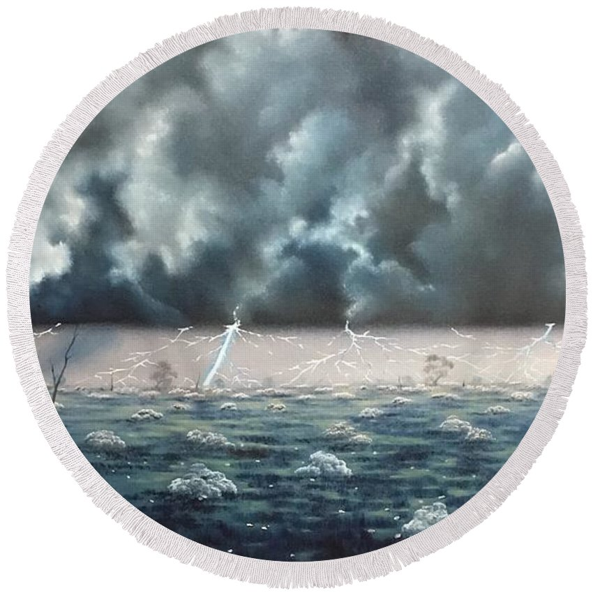 Round Beach Towel featuring the painting Send 'er Down Hughie by David O'Halloran