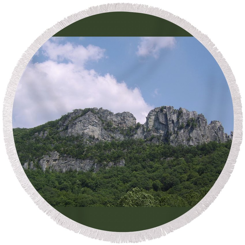 Seneca Rocks West Virginia Images Photographs Prints Appalachian Blue Ridge Mountain Landscape Images Nature Round Beach Towel featuring the photograph Seneca Rocks by Joshua Bales