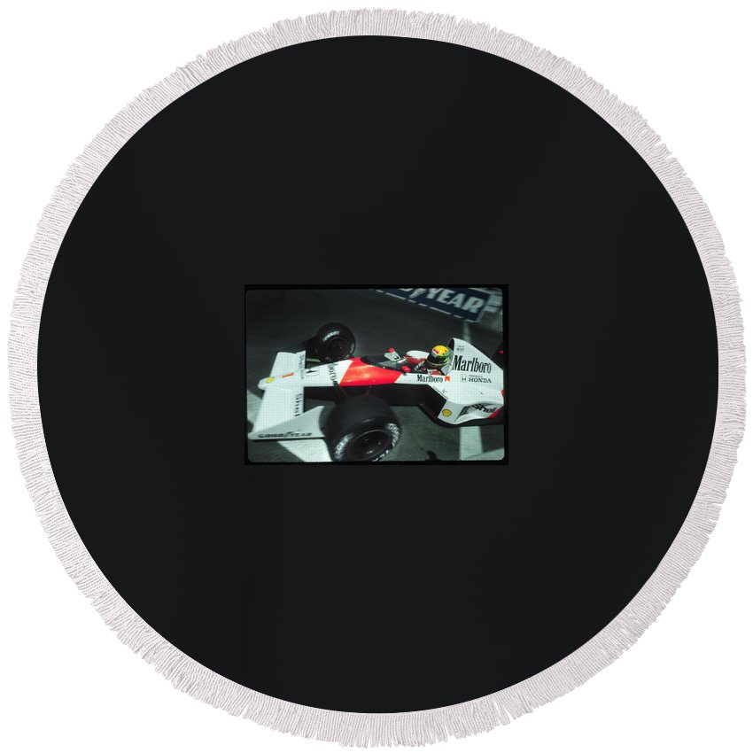 Ayrton Senna Blasts Into Turn 9 Round Beach Towel featuring the photograph Senna Into 9 by Paolo Govoni