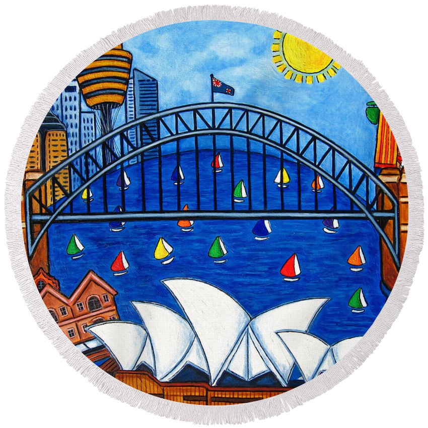 House Round Beach Towel featuring the painting Sensational Sydney by Lisa Lorenz