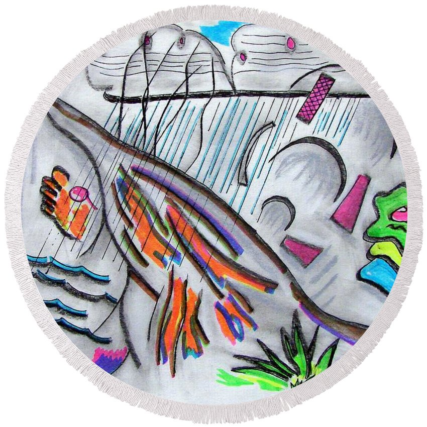 Abstract Drawing Round Beach Towel featuring the drawing Sensing The Precipice by J R Seymour