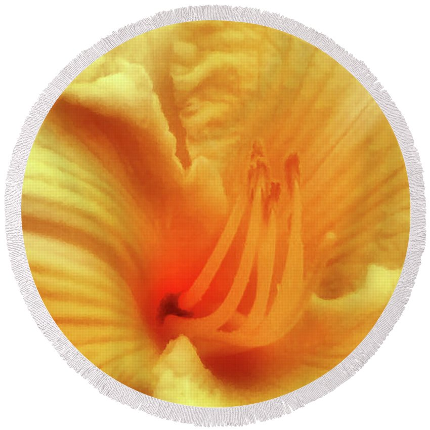 Lily Round Beach Towel featuring the photograph Sensuous Lily by Kristin Elmquist