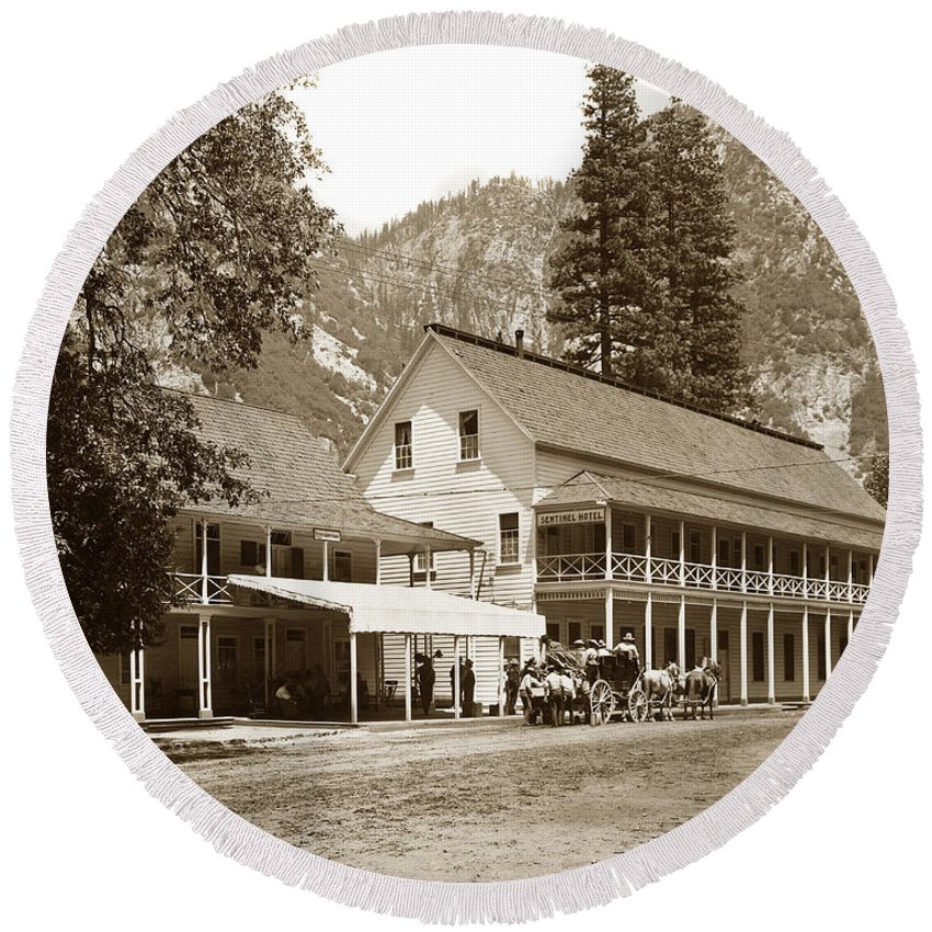 Sentinel Hotel Round Beach Towel featuring the photograph Sentinel Hotel And Ivy And River Cottages Circa 1895 by California Views Archives Mr Pat Hathaway Archives