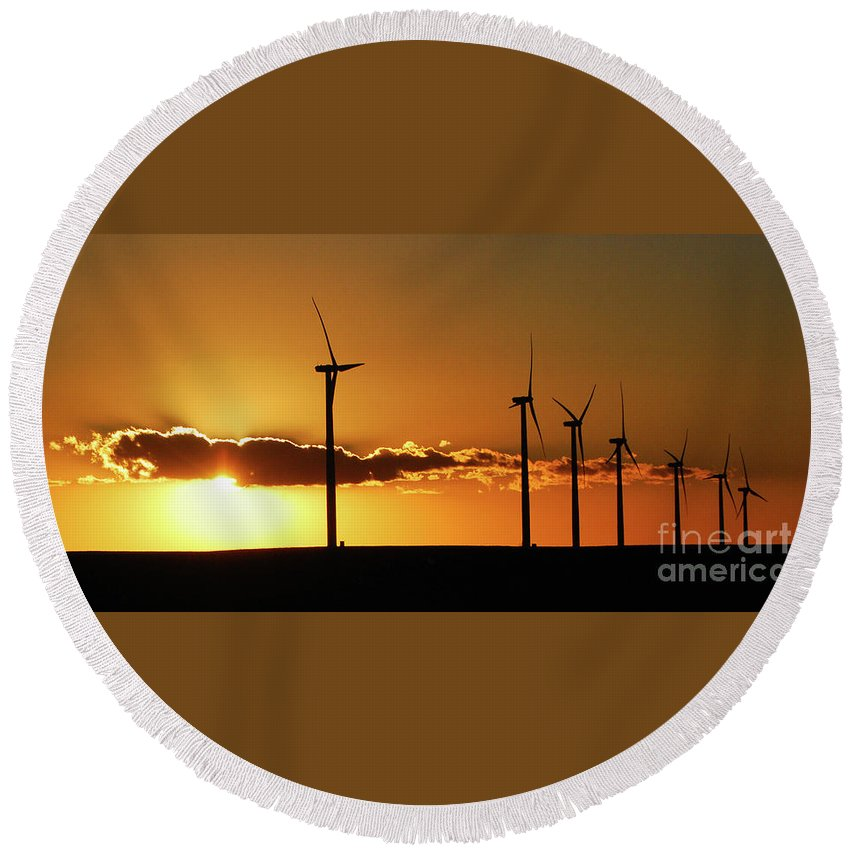 Windmills Round Beach Towel featuring the photograph Sentinels by Audie T Photography