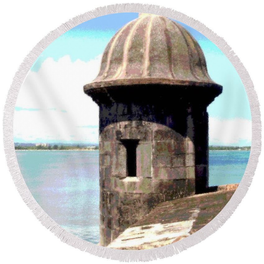 Sentry Round Beach Towel featuring the photograph Sentry Box In El Morro by The Art of Alice Terrill
