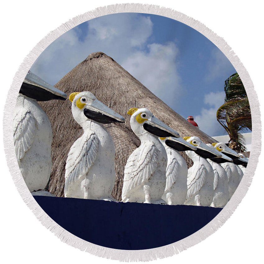 Sentry Pelicans Round Beach Towel featuring the photograph Sentry Pelicans by Ellen Henneke