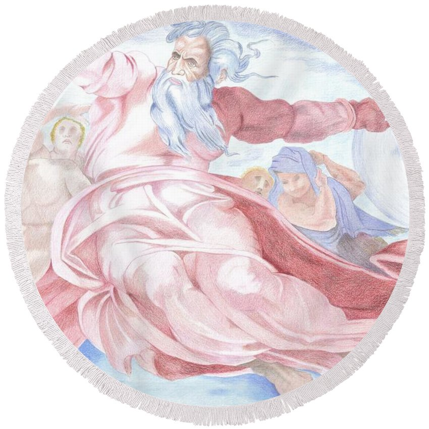 Separation Of The Planets Round Beach Towel featuring the drawing Separation Of The Planets Sistine Chapel Michelangelo by Bernardo Capicotto
