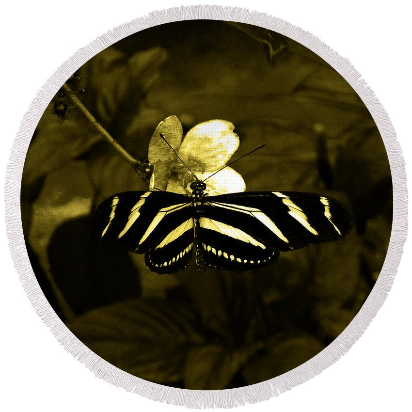Butterfly Round Beach Towel featuring the photograph Sepia Butterfly And Flower by Laura Greco