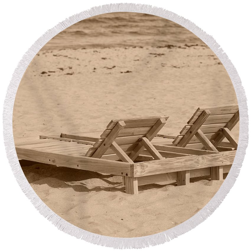 Chez Lounge Round Beach Towel featuring the photograph Sepia Chairs by Rob Hans