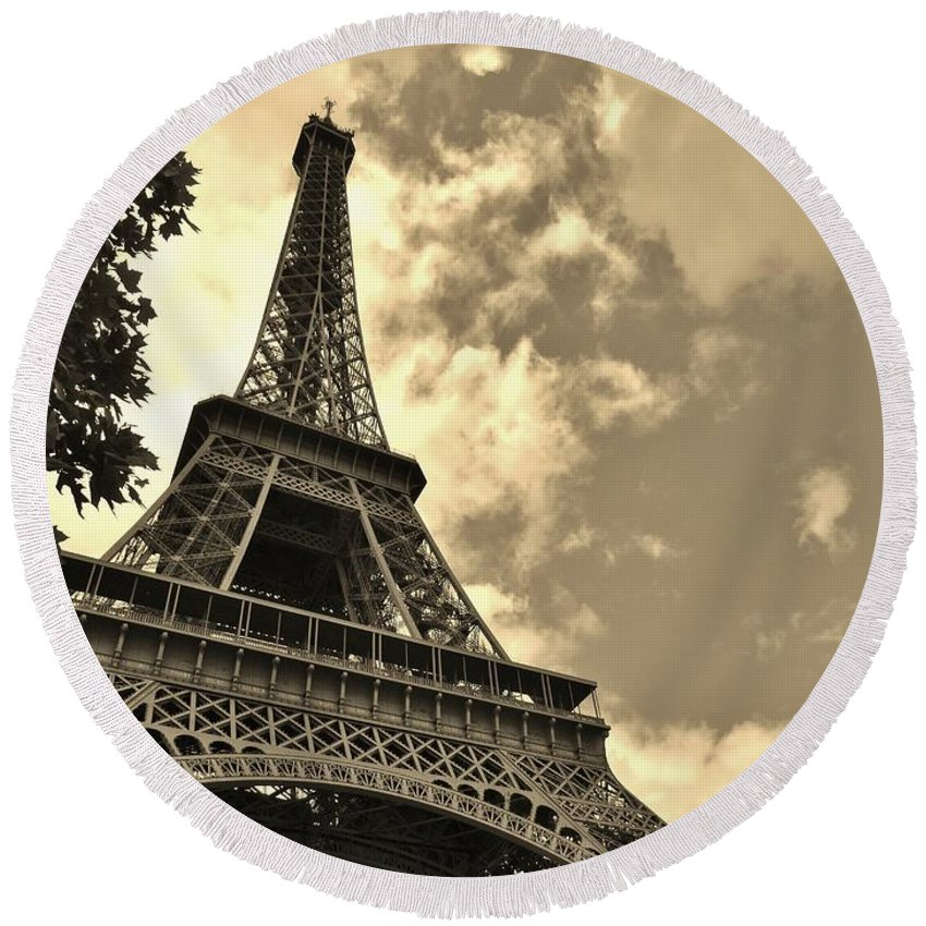 Paris Round Beach Towel featuring the photograph Sepia Eiffel by Victor Carvalho