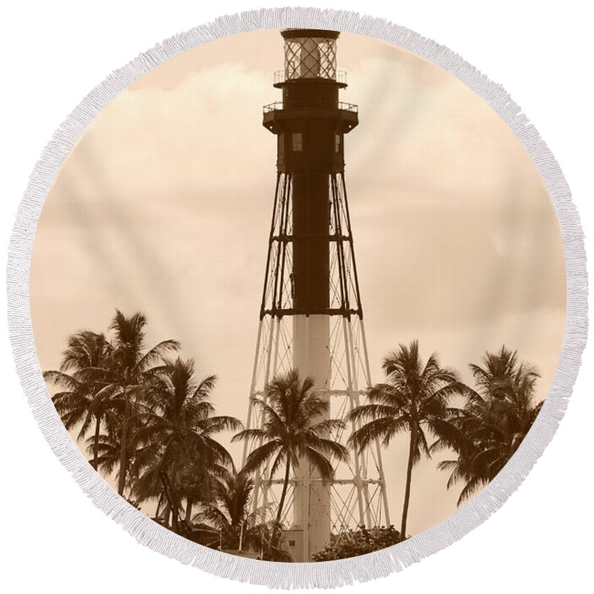Sepia Round Beach Towel featuring the photograph Sepia Light House by Rob Hans