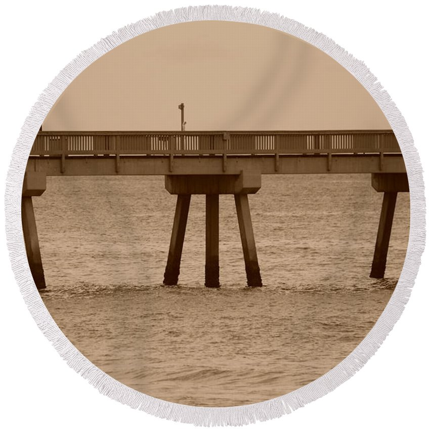 Sepia Round Beach Towel featuring the photograph Sepia Pier by Rob Hans